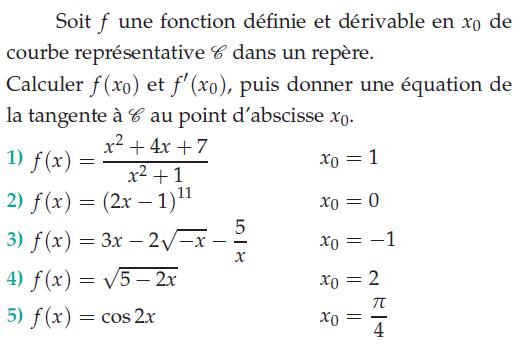 Fonction définie et dérivable en x0 : exercices en terminale S.