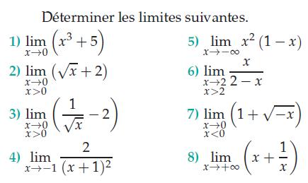 Calculer ces limites : exercices en terminale S.