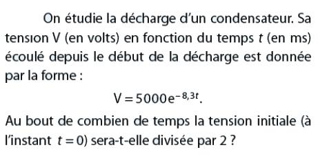 Décharge de condensateur et tension initiale : exercices en terminale S.