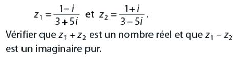 Vérifier que les nombres sont des imaginaires purs : exercices en terminale S.