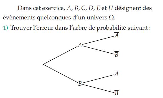 trouver l'erreur dans l'arbre de probabilité : exercices en terminale S.