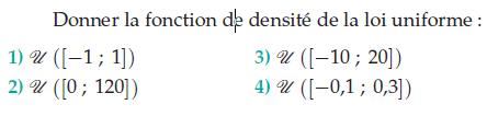 Loi de densité d'une loi uniforme : exercices en terminale S.