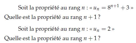 Quelle est la propriété de rang n+1 ? : exercices en terminale S.
