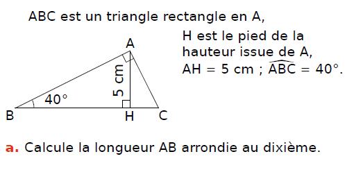 Trigonométrie : exercices en 3ème.