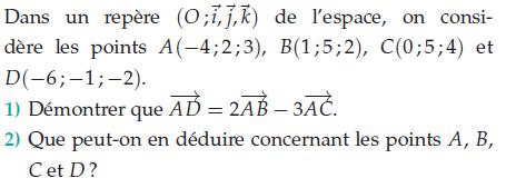 Que peut-on dire des points A,B,C et D? : exercices en terminale S.