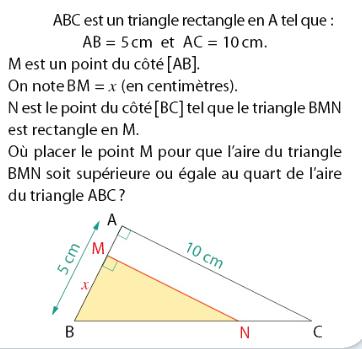 Aire d'un triangle et fonctions : exercices en 2de.