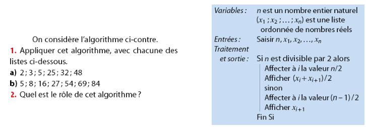 Algorithme et statistiques : exercices en 2de.