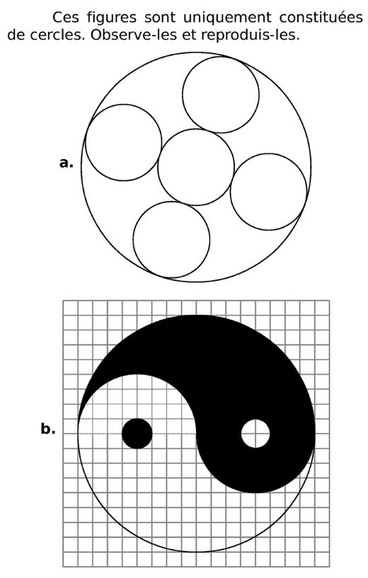 Reproduire des figures contenant des cercles : exercices en 6ème.