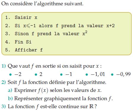Algorithme et fonction continue : exercices en terminale S.