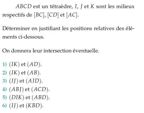 Déterminer les positions relatives : exercices en terminale S.