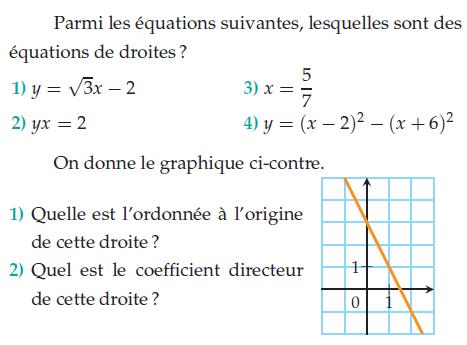 Quelles sont les équations de droites ? : exercices en 2de.