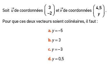 Conditions pour des vecteurs colinéaires : exercices en 2de.