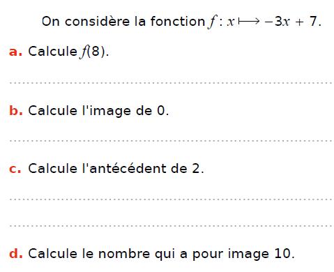 Calculs d'image et d'antécédent : exercices en 3ème.