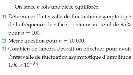 Intervalle de fluctuation et pièce équilibrée : exercices en terminale S.
