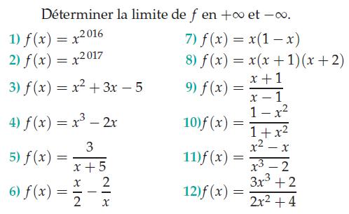 Déterminer la limite en l'infini : exercices en terminale S.