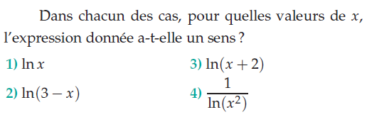 L'expression donnée a-t-elle un sens? : exercices en terminale S.