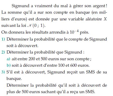 Déterminer la probabilité qu'il soit à découvert : exercices en terminale S.
