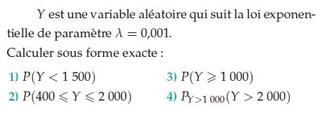 Variable aléatoire suivant une loi exponentielle : exercices en terminale S.