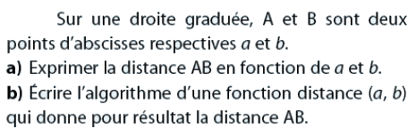 Algorithme qui fournit la distance entre 2 points : exercices en 2de.