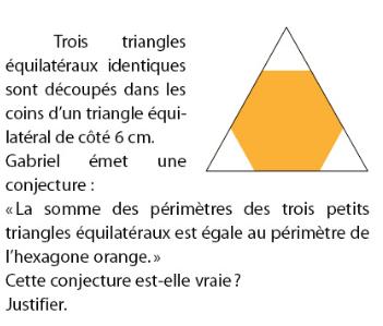 Trois triangles équilatéraux identiques découpés dans les coins : exercices en 2de.
