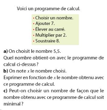 programme de calcul et fonctions : exercices en 2de.