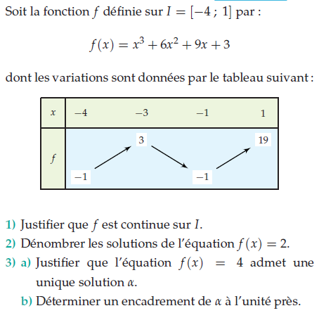 Tableau de variation et continuité : exercices en terminale S.