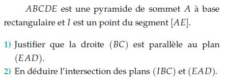 Intersections de plans et pyramides : exercices en terminale S.