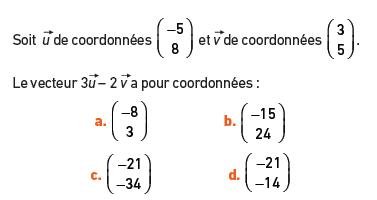vecteur et coordonnées : exercices en 2de.
