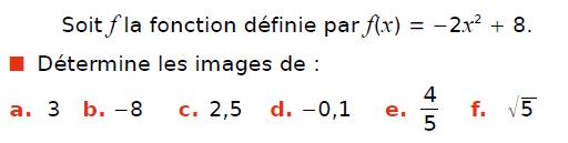 Fonction et expression algébrique : exercices en 3ème.