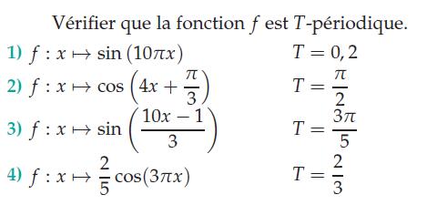 Vérifier que la fonction f est T-périodique : exercices en terminale S.