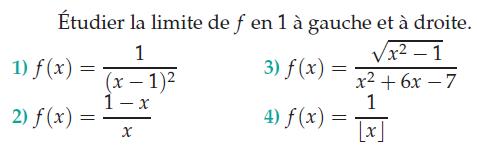 Limite de f à gauche : exercices en terminale S.