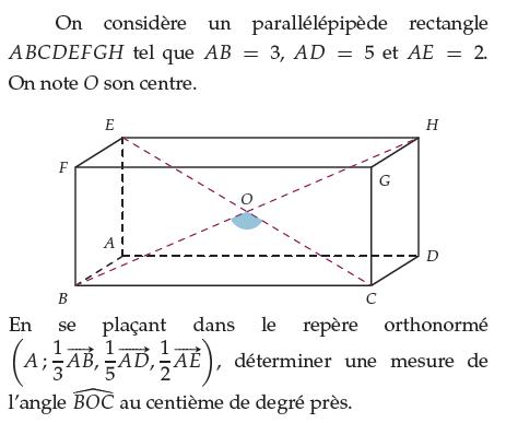Déterminer une mesure de l'angle du parallélépipède : exercices en terminale S.