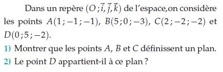 Calcul avec des coordonnées dans l'espace : exercices en terminale S.