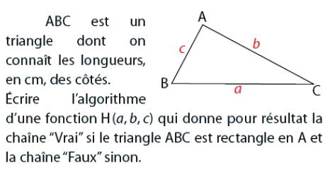 Algorithme qui précise si un triangle est rectangle : exercices en 2de.