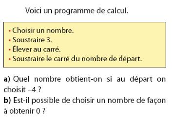 Nombre de départ et programme de calcul : exercices en 2de.
