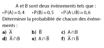 Déterminer la probabilité de chaque événement : exercices en 2de.