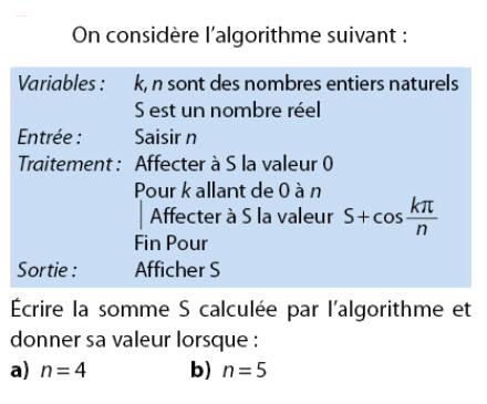 Algorithme et trigonométrie : exercices en 2de.