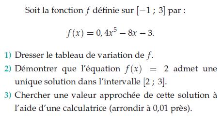 Valeur approchée d'une solution d'équation : exercices en terminale S.