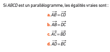 Parallélogramme et égalités : exercices en 2de.