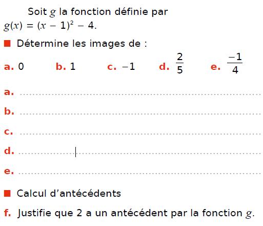 Fonction carrée : exercices en 3ème.