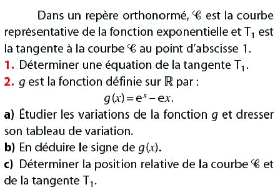 Tableau de variation et équation de la tangente : exercices en terminale S.
