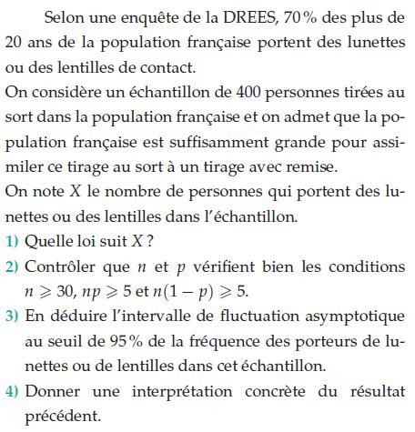 La population française et le port de lunettes : exercices en terminale S.