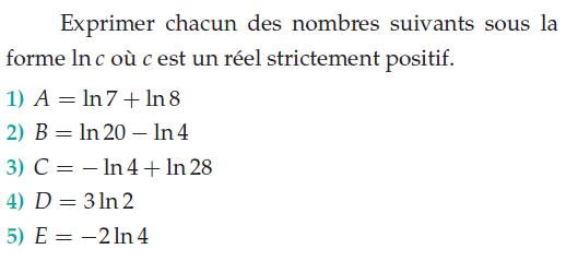 Exprimer ces nombres sous la forme ln c : exercices en terminale S.