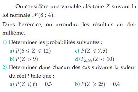 Une variable aléatoire Z suivant une loi normale : exercices en terminale S.