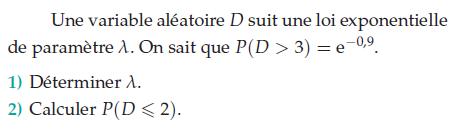 Une variable aléatoire qui suit une loi exponentielle : exercices en terminale S.