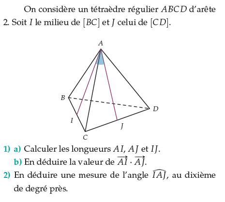 Calculer des longueurs dans un tétraèdre régulier : exercices en terminale S.