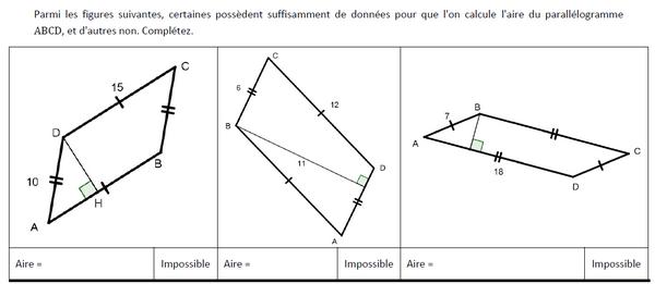 Calculer l'aire du parallélogramme : exercices en 5ème.