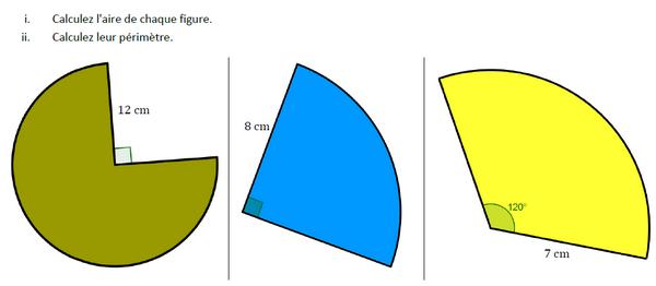 Calcul de l'aire et périmètre de portion de disque : exercices en 5ème.