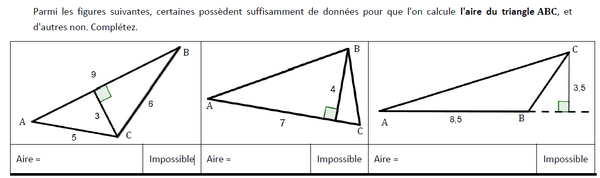 Calculs de l'aire de triangles : exercices en 5ème.
