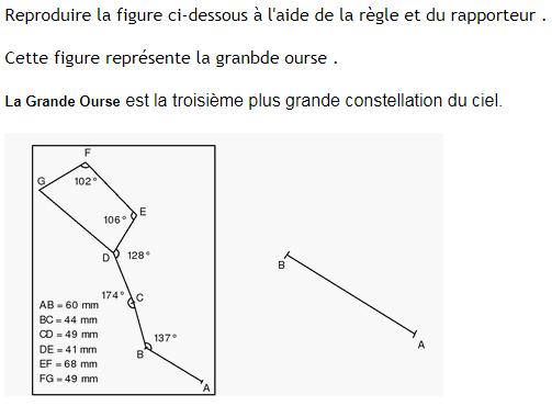 La grande ourse- construction géométrique : exercices en 6ème.